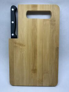 "Bambo Cutting Board with Built-In Knife 10""x6"""