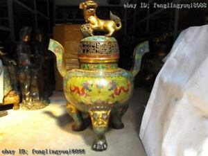 Tibet Pure Bronze cloisonne Gilt Foo Dog Lion two Dragon incense burner Censer
