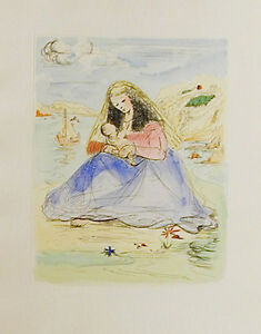 SALVADOR DALI - MADONNA AND CHILD- ETCHING IN COLOR -UNSIGNED-1980's -WOVE
