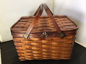 Vintage Wicker Square Picnic Basket Woven Wooden W/ Great Patina