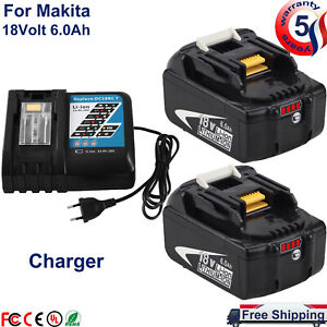 For Makita BL1860B 18 Volt LXT Lithium Batteries BL1830B 18V + DC18RC Charger