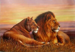 CHENPAT983 Two lions animals Lying on the grassland oil painting art on canvas