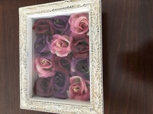 Vintage Distressed White Box Frame With Dozen Roses:pink, Purple& Maroon, Like N