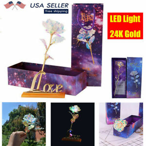 24K Gold Foil Rose Flower Luminous LED Galaxy Mother's Valentine's Day Gift Box
