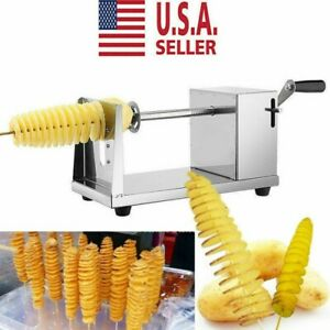 Manual Stainless Steel Twisted Potato Apple Slicer Spiral French Fry Cutter USA