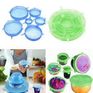 2 Set Silicone Stretchable Round Wrap Lids Cup Bowl Covers Various Sizes