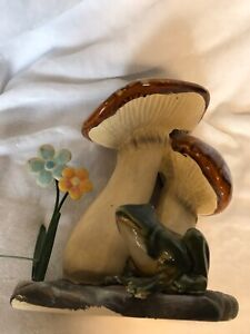 Ceramic Frog Hiding Under Large Mushroom $16.50
