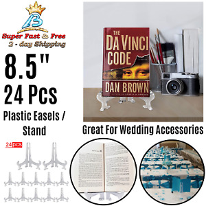 Clear Plastic Folding Easels Photo Display Stand Plate Dish Holders Frame 24 Pcs