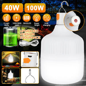 100W 40W LED Camping Light USB Rechargeable Outdoor Tent Lantern Hiking Lamp USA