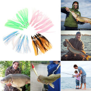 50Pcs Random Mixed Color Octopus Squid Skirt Bait Lure 10 Colors Fishing Supply