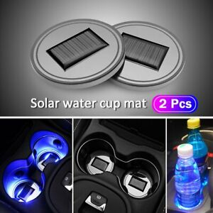2 x Solar LED Lights Car Cup Holder Mat Cup Pad Drinks Coasters Atmosphere Lamps