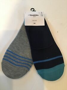 Goodfellow amp; Co Mens Liner Socks Blue And Gray 2 Pairs Sizes 7 12 $8.49