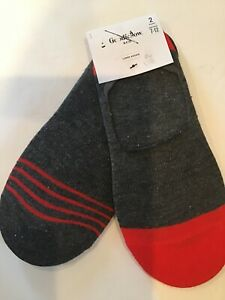 Goodfellow amp; Co Mens Liner Socks Red And Gray 2 Pairs Sizes 7 12 $8.49