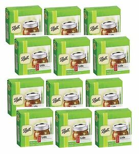 12 Box/12 BALL Regular Mouth Dome Lids For Mason Jars Canning Preserving 31000