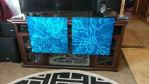 Metal wall art abstract modern blue wall sculptures large sea life outdoor patio $115.00