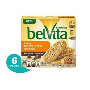 belVita Honey Chocolate Chip Breakfast Biscuits, 6 Boxes 5 Packs Per Box