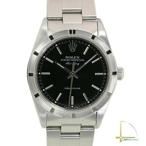 Rolex Air King Mens Stainless Steel Watch Oyster Black Index Dial 14010 Watch $4930.99