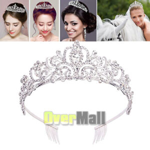 Crystal Wedding Tiara Bridal Crown Jewelry Prom Princess Queen Diadem with Comb $10.99