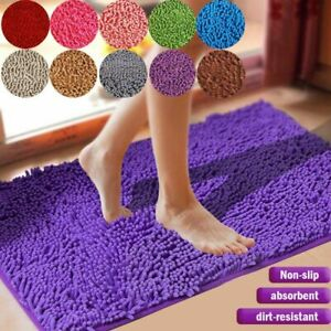Large Thickened Bath Mat Bathroom Shower Toilet Rug Long Plush Non Slip Shaggy