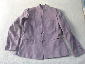 VINTAGE WOMENS BURGUNDY TWEED STYLE WEAVE LT.WEIGHT WOOL FABRIC STYLISH JACKET