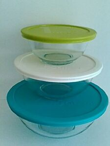 Pyrex 6-Piece Glass Mixing Bowl and Colored Plastic Lid Set