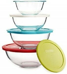 Pyrex 8-piece Glass Mixing Bowls with Colored Lids Set