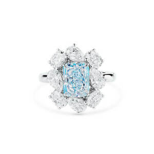 4.97Ct Fancy Light Blue Diamond Ring Real Radiant Cut Natural 18K White Gold GIA