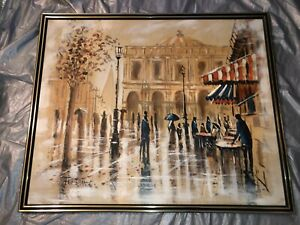 FERRANTE 4x3ft BEAUTIFUL CITY BAY OIL FRAMED PAINTING SIGNED $1200.00
