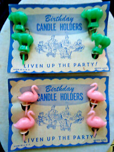 VINTAGE ON  ORIGINAL CARDS:1950S BIRTHDAY CANDLE HOLDERS - SWANS