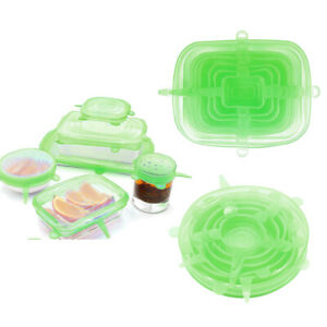 2 Set Green Kitchen Reusable Silicone Stretchable Lids Pot Bowl Covers