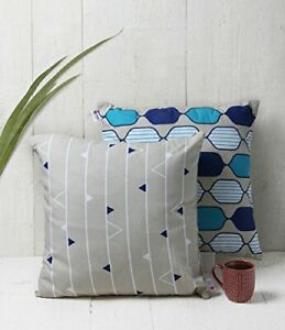 storeindya Set of 2 Hand Woven 100% Cotton Pillow Covers for Throw Pillo 18 X 18