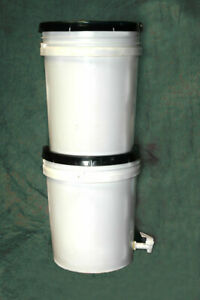 Gravity Feed Ceramic Filter Buckets - camping, fishing, survival, boil orders!