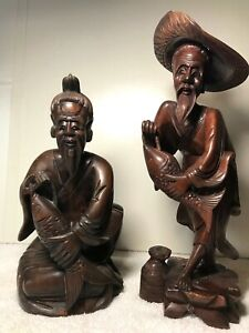 TWO ANTIQUE CARVED WOOD CHINESE SCULPTURES with FISH $38.00