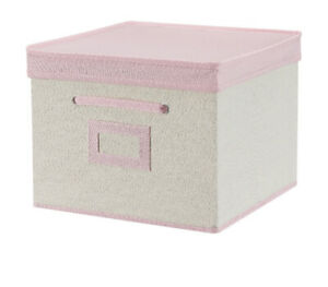 Your Zone Kids Canvas Storage Bin with Lid 12quot; x 12quot; Pink