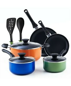 Cook N Home Multicolor 10 Piece Nonstick Cookware Set Stay Cool Handle