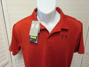 NEW UNDER ARMOUR BOYS YOUTH RED STRIPED GOLF HEAT GEAR LOOSE POLO SHIRT YXL $26.99