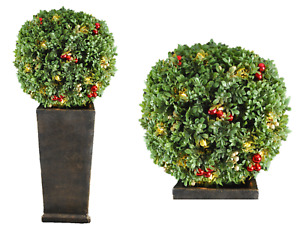 38-IN H PRE-LIT BOXWOOD TREE TOPIARY w/35 BATTERY-OPERATED WARM WHITE LED LIGHTS