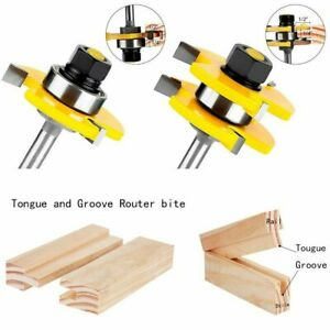 Tongue and Groove Router Bit Set 1/4Inch Shank T-shape 3-teeth Cutter Tool 1 Set