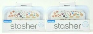 (2) Stasher Reusable Plastic Free Silicone Food Storage Bag, Snack Size, Clear