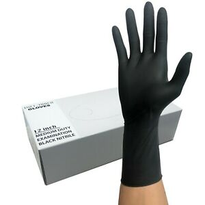 Nitrile Heavy Duty Gloves 12 Length 8mil Black FAST SHIP