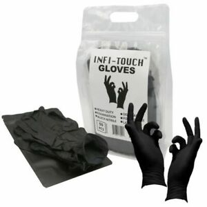 Black Nitrile Disposable Gloves 50pk Bag Travel Pouch Included FAST SHIP