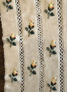 Hand Knit Crochet Afghan Lap Blanket Throw Rose Print Cross Stitch 69 in x 44 in