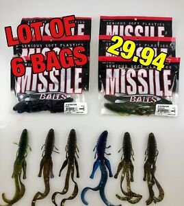 "LOT OF 6 BAGS - D Stroyer -7"" Large Twin Tail Ribbed Creature Bait For Big Bass"