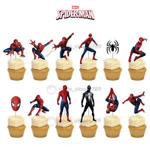 12 Spiderman Super Hero Birthday Cupcake Cake Toppers Food Pick Favor Party Kids