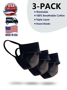 Made In USA 3 Pack Stretching Cloth Mask Face 100% Cotton Washable Reusable