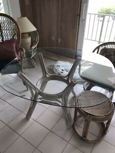 Wicker Rattan Furniture Chairs Glass Tables Lamp