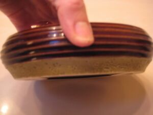 Joseph Abboud Soap Dish Glazed Ceramic Pottery Chocolate Brown 2 Available MINT!