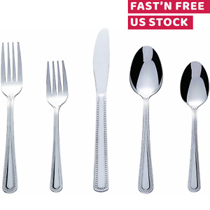 Flatware Cutlery Set Knife Fork Spoon Stainless Steel Silverware Service 20 Pcs