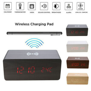 Wooden LED Electric Alarm Clock w/Qi Wireless Charging Pad Sound Control Charger