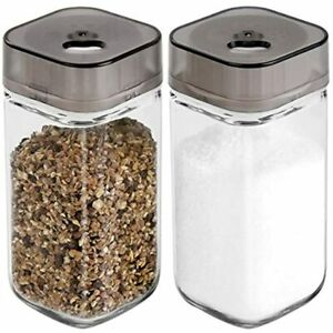 Salt And Pepper Shakers Set With Adjustable Pour Holes - Premium Dispenser Glass